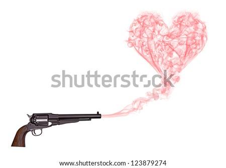 Gun with smoke hearth - stock photo