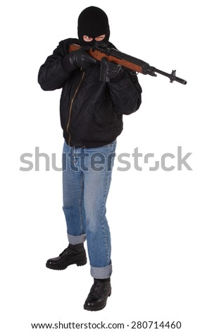 gunman with rifle isolated on white background