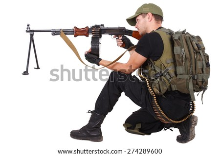 gunner with RPD gun isolated on white