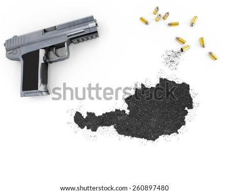 Gunpowder forming the shape of Austria and a handgun.(series) - stock photo