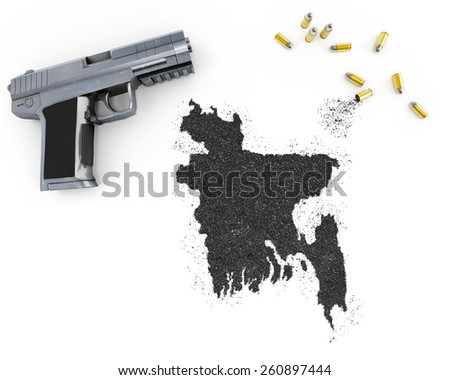 Gunpowder forming the shape of Bangladesh and a handgun.(series) - stock photo