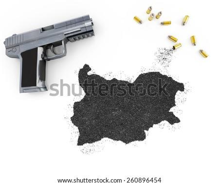 Gunpowder forming the shape of Bulgaria and a handgun.(series) - stock photo