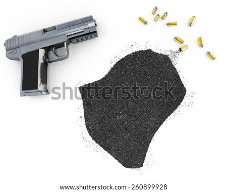 Gunpowder forming the shape of Burundi and a handgun.(series) - stock photo