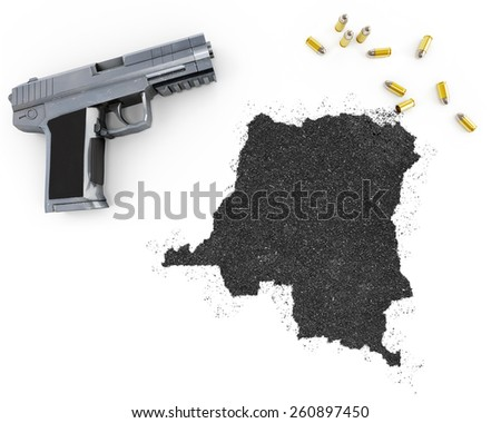 Gunpowder forming the shape of Democratic Republic of the Congo and a handgun.(series) - stock photo