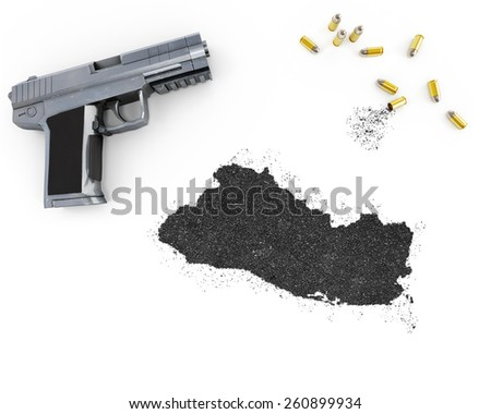 Gunpowder forming the shape of El Salvador and a handgun.(series) - stock photo