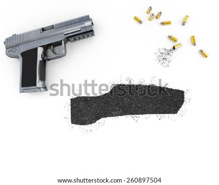 Gunpowder forming the shape of Gambia and a handgun.(series) - stock photo
