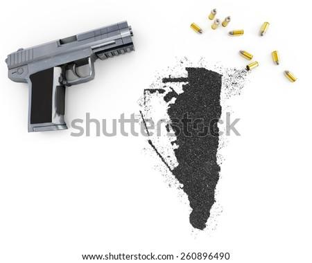 Gunpowder forming the shape of Gibraltar and a handgun.(series) - stock photo