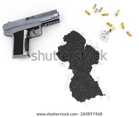 Gunpowder forming the shape of Guyana and a handgun.(series) - stock photo