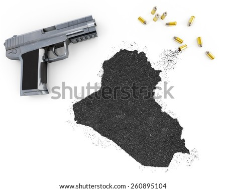 Gunpowder forming the shape of Iraq and a handgun.(series) - stock photo