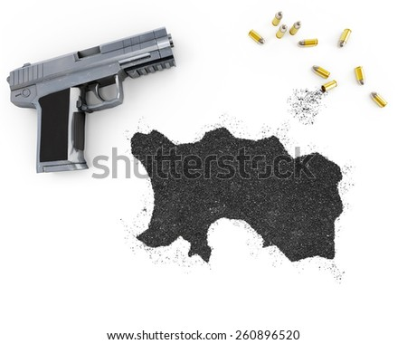 Gunpowder forming the shape of Jersey and a handgun.(series) - stock photo