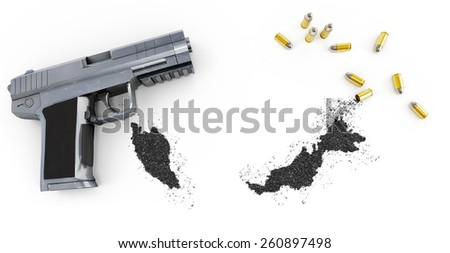 Gunpowder forming the shape of Malaysia and a handgun.(series) - stock photo