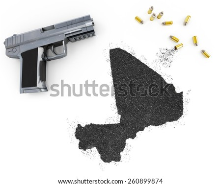 Gunpowder forming the shape of Mali and a handgun.(series) - stock photo