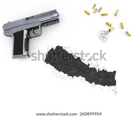 Gunpowder forming the shape of Nepal and a handgun.(series) - stock photo