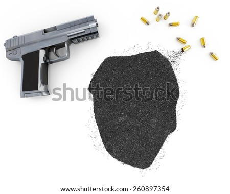 Gunpowder forming the shape of Sierra Leone and a handgun.(series) - stock photo