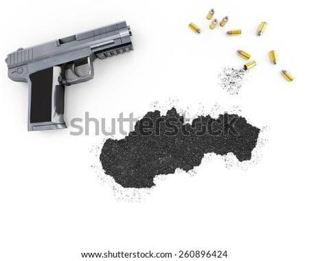 Gunpowder forming the shape of Slovakia and a handgun.(series) - stock photo