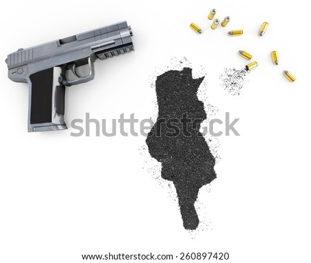Gunpowder forming the shape of Tunisia and a handgun.(series) - stock photo