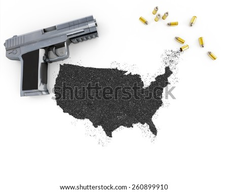 Gunpowder forming the shape of USA and a handgun.(series) - stock photo