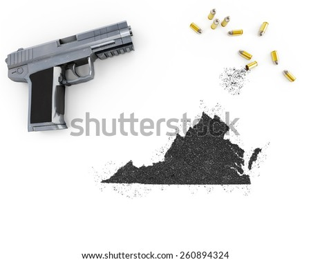 Gunpowder forming the shape of Virginia and a handgun.(series) - stock photo