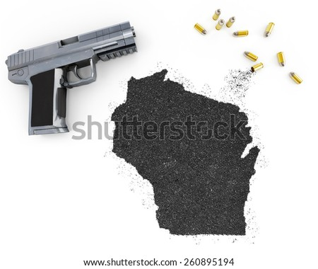 Gunpowder forming the shape of Wisconsin and a handgun.(series) - stock photo