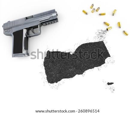 Gunpowder forming the shape of Yemen and a handgun.(series) - stock photo
