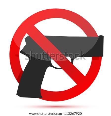 Guns are prohibited sign illustration design over white - stock photo
