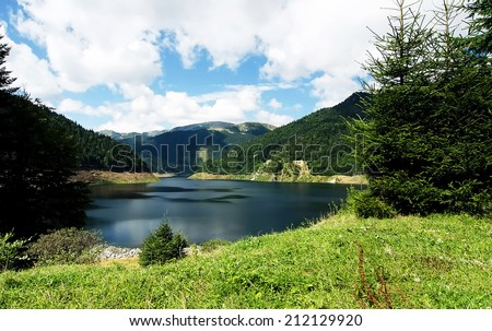 Gura Apei accumulation lake in Retezat Mountains, Romania. - stock photo