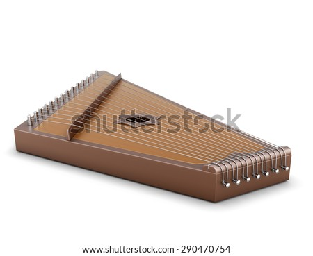 Gusli close-up isolated on white background. 3d render image. Music instrument. - stock photo