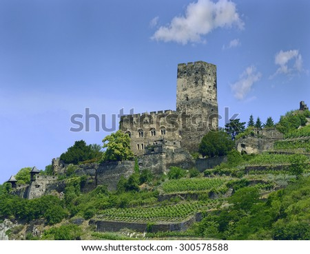 Gutenfels castle above the town Kaub, Rhine Valley, Germany. Rhine Valley is UNESCO World Heritage Site - stock photo