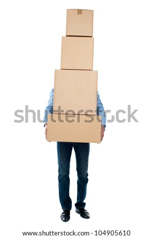 Guy carrying heavy packages isolated over white background. Overloaded