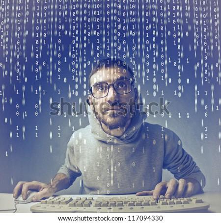 Guy coding - stock photo