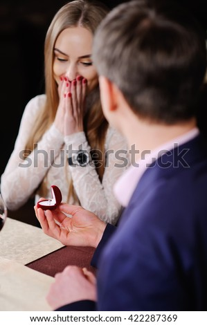 Guy Doing Girl Proposal Restaurant Man Stock Photo Royalty Free