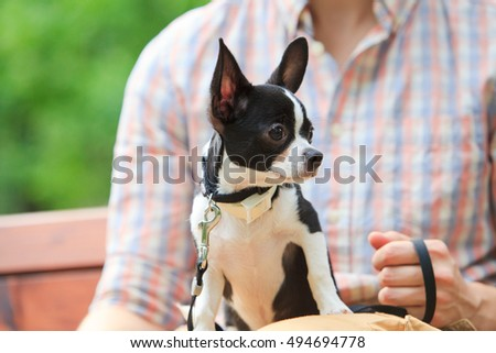 Guy in a plaid shirt sitting on the bench with his dog