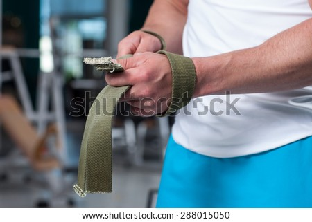 guy in training with a barbell - stock photo