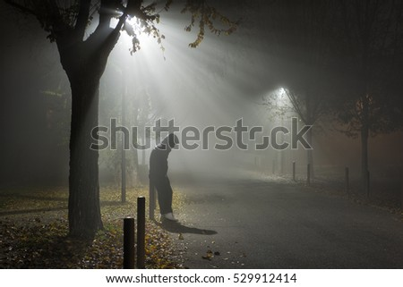 guy on the street near the plants at night shrouded in mist illuminated by lamplight