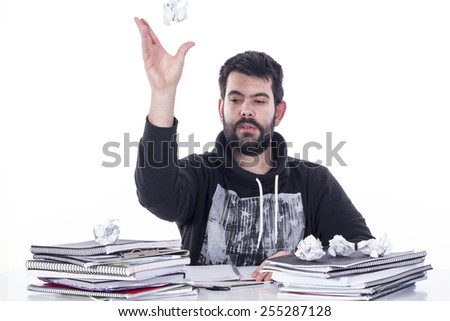 Guy playing basket with paper - stock photo