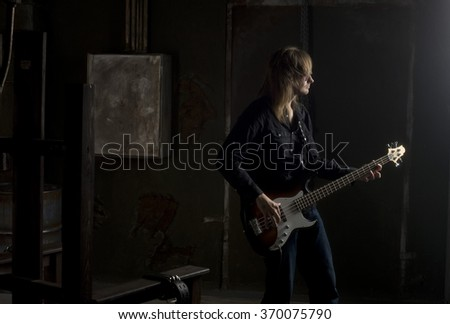 guy playing guitar - stock photo