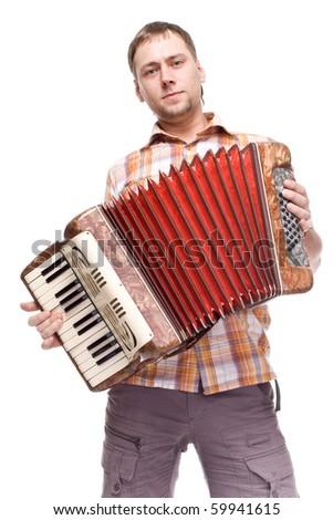 guy playing the accordion on white bac?ground - stock photo
