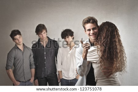 Guy rejoicing for his love success - stock photo
