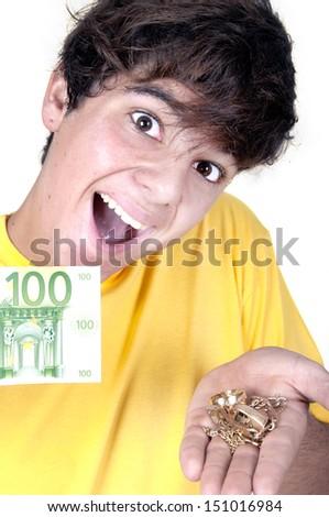 guy selling gold against cash money  - stock photo