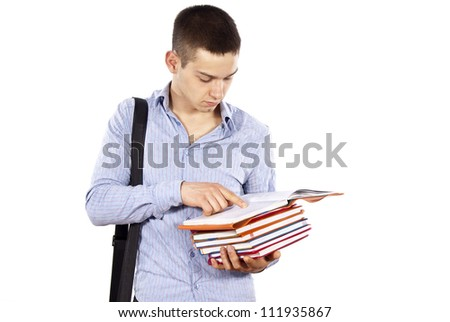 guy student reads a book