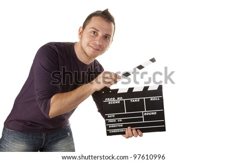 guy who runs a movie - stock photo