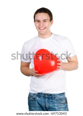 guy with a red heart on a white background