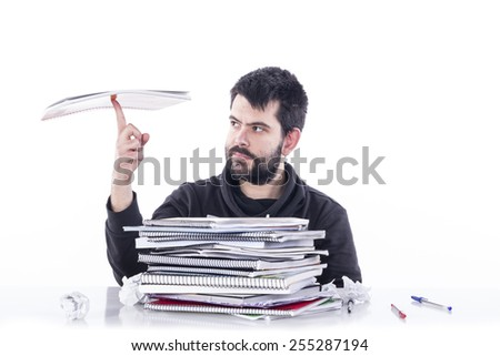Guy with carpet - stock photo