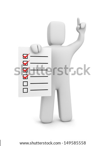 Guy with checklist - stock photo
