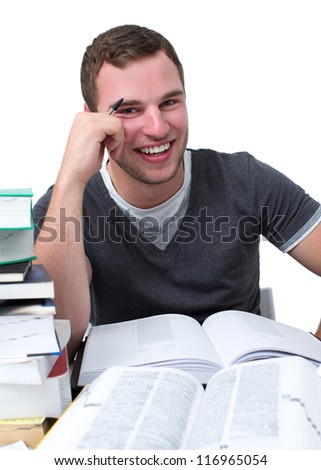 Guy with natural smile having fun while studying for university - stock photo