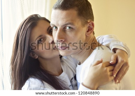 guy with pretty woman, happy couple, very close face - stock photo