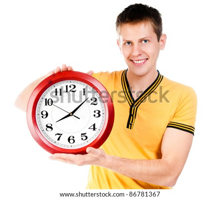 guy with wall clock isolated on white