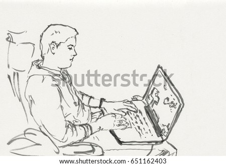 Guy working on the computer. Freehand outline ink hand drawn picture sketch