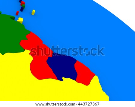 Guyana and Suriname  on colorful political globe. 3D illustration