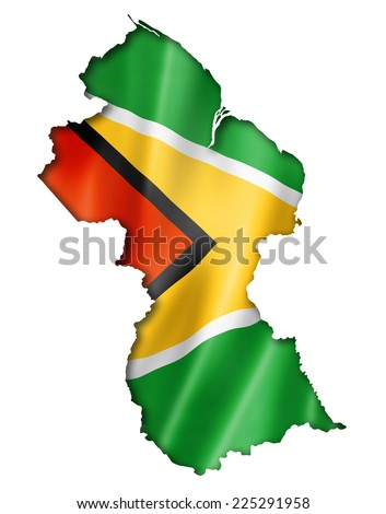 Guyana flag map, three dimensional render, isolated on white - stock photo